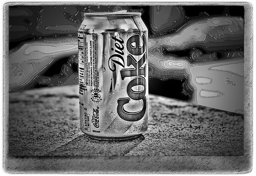 Monochrome Diet Coke -- macro white black monochrome coke diet soda aluminum focus metal reflective drink