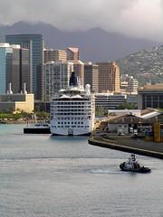 USA - Hawaii (Chris&Steve) Tags: cruise sea usa port hawaii harbor boat dock marine ship harbour cruising vessel maritime cruiseship tugboat honolulu tug nautical shipping onboard atsea 2007 crystalsymphony 10millionphotos v300i