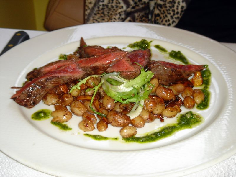 Grilled Cedar River hanger steak with borlotti beans and chanterelles