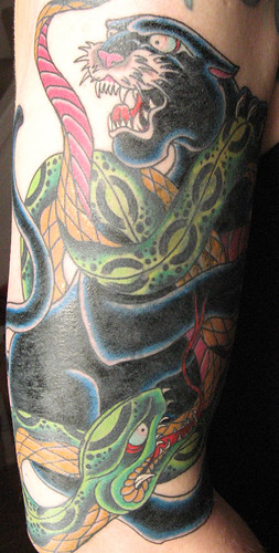 snake+panther tattoo by David Thousand Words From David Thousand.