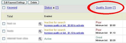 Google AdWords Quality Score kolom
