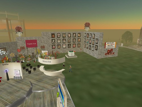 Arial View of the Virginia Tech Memorial on Info Island in Second Life
