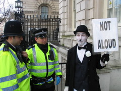 """ooops!"" (little tramp) Tags: london art iraq police tonyblair activism arrest freespeech downingstreet charliechaplin civilliberties brianhaw silentprotest notaloud"