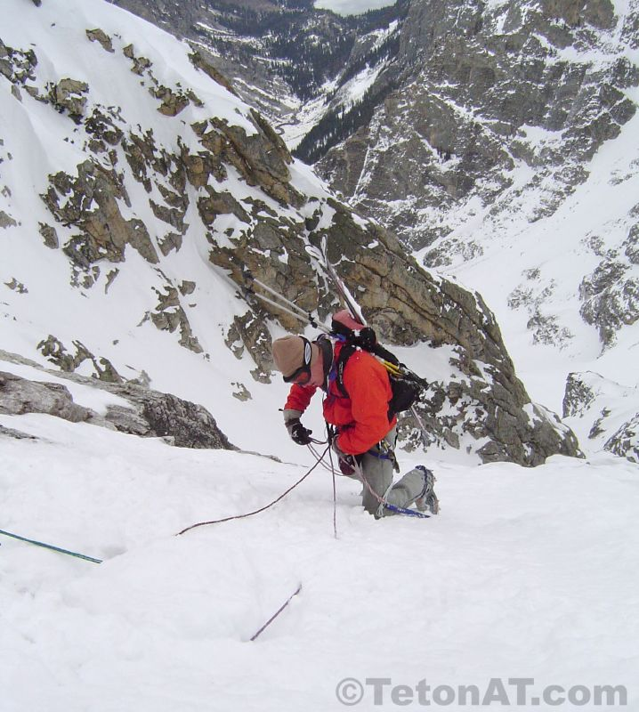 Brendan Oneill gets ready to rappel on the Northeast Snowfields on Mt Owen