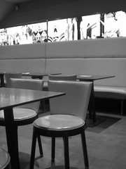 In absentia....... (multi_everything) Tags: bw table chair waiting alone loneliness coffeeshop emptiness caffe cdp caffebar