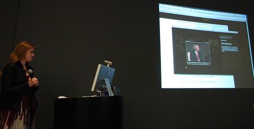 Jennifer Preissel showing a Clint Eastwood video