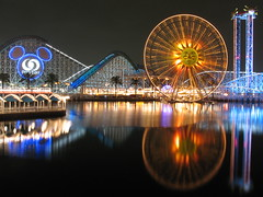 Themed Reflections (Brian Utesch (shutterBRI)) Tags: california longexposure travel reflection water night canon photography la photo stock disney powershot socal ferriswheel rides rollercoaster southerncalifornia orangecounty themepark californiaadventure sunwheel californiascreamin unprocessed a630 unaltered paradisepier disneylandresort thrillrides maliboomer disneyresort supershot shutterbri cy2 challengeyouwinner brianutesch flickrchallengegroup flickrchallengewinner disneycaliforniaadventurepark photofaceoffwinner photofaceoffplatinum pfogold ostrellina brianuteschphotography