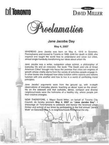 Proclamation that May 4, 2007 is Jane Jacobs Day in Toronto