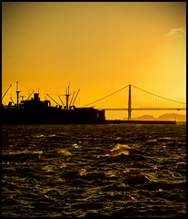 Sunset behind Golden Gate Bridge (say.fromage) Tags: sanfrancisco bridge sunset sea people usa holiday water america canon shopping bay cafe ship harbour eating goldengatebridge goldengate shops sanfran pier39 unionsquare westinhotel 30d