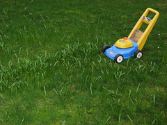 Weeds and Plastic Mower (ryunar) Tags: toy weeds plastic mower
