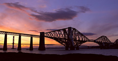 Forth Bridges (philzero) Tags: road bridge sunset scotland edinburgh suspension south rail explore photoblog forth canonef2470mmf28lusm 2470l firth queensferry gloaming cantilever