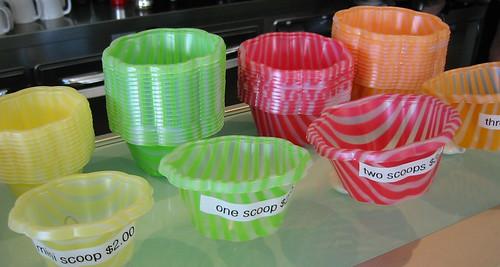 Gelato cups at Caffe Pallino