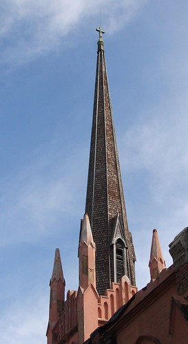 Steeple, Trinity Episcopal church, Abbeville, SC, built 1859