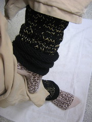 black and gold legwarmers