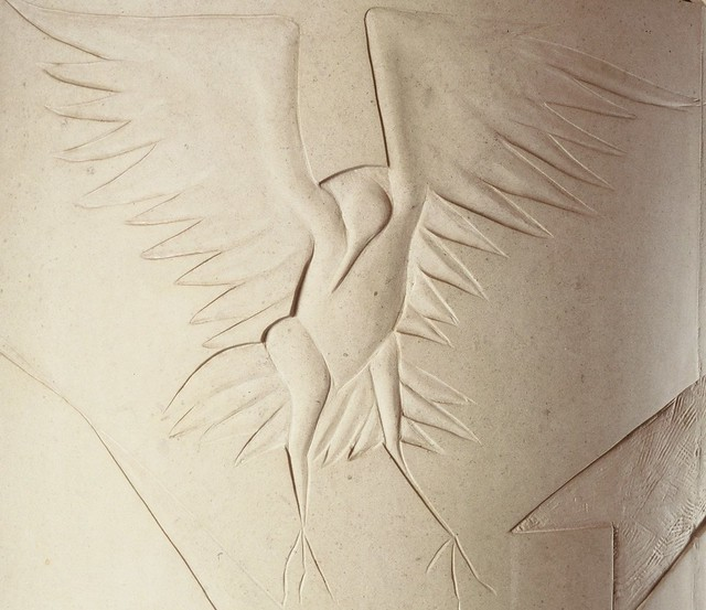 Peninsula Center Library Carved Stone Column by Palos Verdes Library District