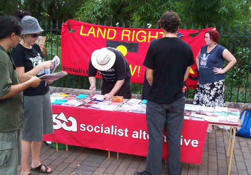Socialist Alternative Stall, Invasion Day Rally and March, Parliament House, George St, Brisbane, Queensland, Australia 070126