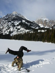 Grand Teton and headstand