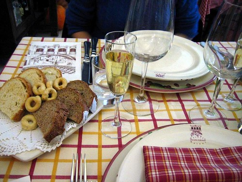 Osteria Piazzetta Cattedrale - start with a free glass of wine and tasty bread