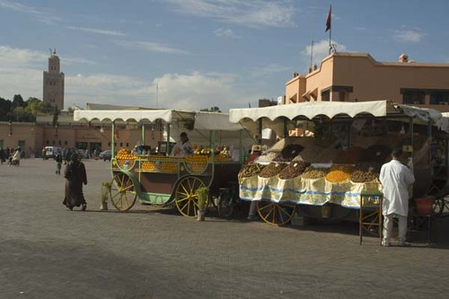 Jemaa El Fna Square with Koutoubia Mosque in background