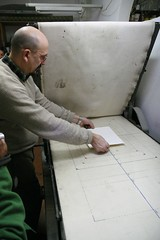 Placing the etching and paper in the press