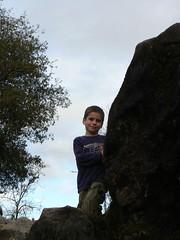 Gage climbing rocks