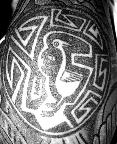 Black and white photo of a northwestern american indian circle tattoo on my