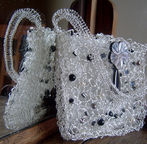 constellations beaded wire evening purse