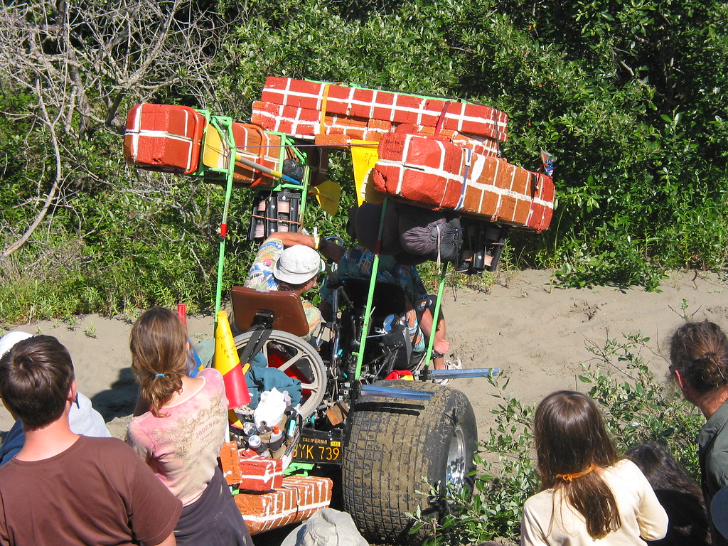T.A.M.E.(That's A Mower, Eh?) Descending Dead Man's Dorp, Samoa Dunes, Humboldt, California: Grand Championship Kinetic Sculpture Race, May 2004
