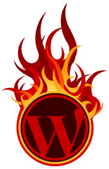 WordPress 2.3.2 logo en fuego