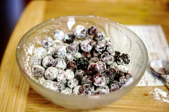 Blueberries in Tossed in Dry Ingredients