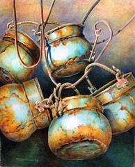 Viola's Planters (gossamerpromise) Tags: art drawing rusty pots prismacolor coloredpencil yourmasterpaintings