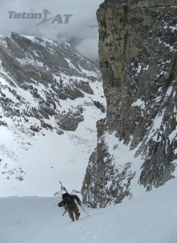 Chris Figenshau approaches the top of North Couloir Buck Mountain-West Peak