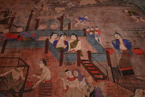 Murals. Wat Phumin. Nan. NE Thailand.