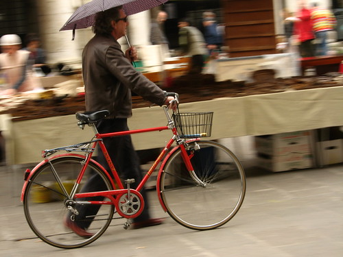 Red bike in Vicenza, Italy
