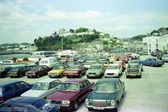 GB Torquay 1984 (orangevolvobusdriver4u) Tags: greatbritain england mercedes devon 1984 torquay parkplatz volvo240 grossbritannien carparking morrismarina w115 audi100 renault14 archiv1984