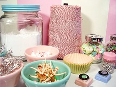 baking goodies!! (holiday_jenny) Tags: pink kitchen baking ballerina aqua plastic cupcake sprinkles bakery string flour jars toppers wrappers ballerinas