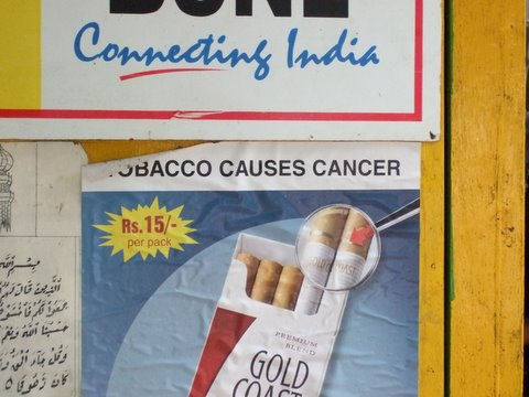 Tobacco Causes Cancer- Fifteen Rupees per Pack