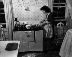 Preparing dinner (John Collier Jr.) Tags: blackandwhite bw usa history classic film museum america vintage collier us photographer unitedstates propaganda wwii documentary patriotic roosevelt historic professional worldwarii 1940s archives maxwell ww2 americana civildefense patriotism archival forties largeformat anthropology homefront worldwar2 40s fsa wartime newdeal owi waryears officeofwarinformation johncollierjr farmsecurityassociation