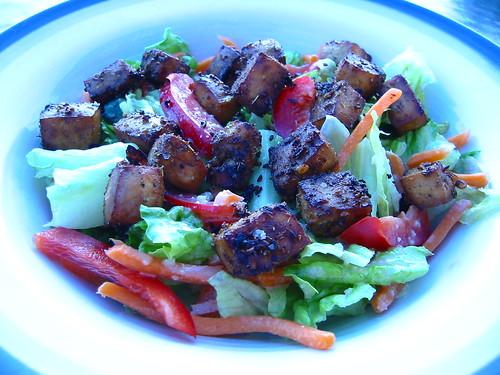Caesar Salad with Tofu Croutons
