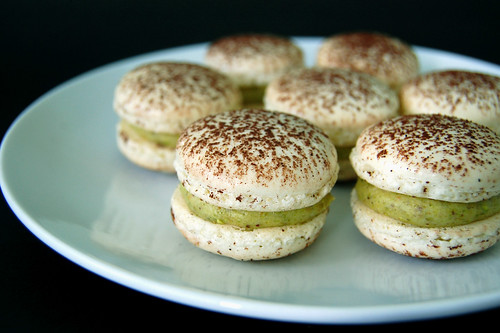 Macarons with Pistachio Paste Buttercream & Praliné