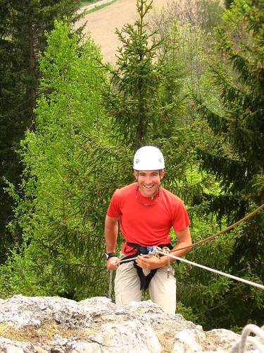 Rob practising abseiling at Village Camps spring outdoor education camp staff orientation in Anzere, Switzerland