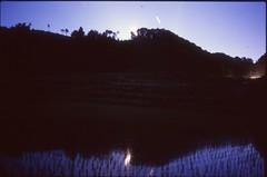 (✞bens▲n) Tags: pentax lx fa 31mm f18 limited film slide provia 400x japan gunma fields field reflection night longexposure moon water stars dark
