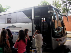 Bus picking up passengers in Montevideo