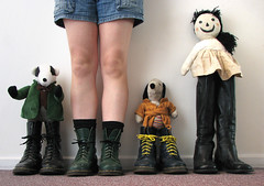 lineup - 25/365 (ferrous) Tags: selfportrait self toys doll boots snoopy badger dolly docs lineup docmartens windinthewillows kneehigh clothdoll 365days handmadebymyownmum