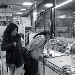 perception of a situation (ajpscs) Tags: street bw japan japanese tokyo blackwhite nikon shinjuku streetphotography  nippon  blkwht d100 lunchbox conveniencestore bent monokuro ajpscs generallyaccessible konbiniinjapanese