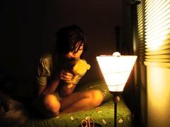 (nnneller) Tags: cute green love lamp girl night dark bed kiss kissing warm room sheets teddybear goodnight aww bedtime yellows truelove comfy kissgoodnight