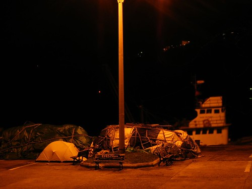 Tent pitched on the docks in Amasra, Black Sea coast of Turkey