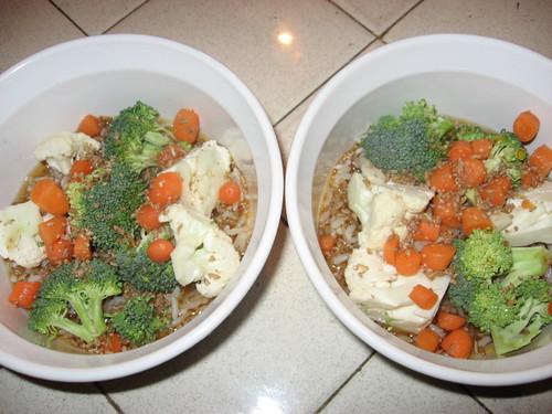 veggies, rice, bulgur wheat and beef stock