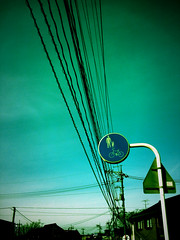 /powerline gabigabi (motocchio) Tags: winter sign japan december hometown 2006 powerline  fakelomo fakexpro   xpro