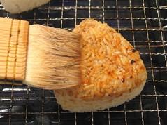 Making yaki onigiri #2 (grilled rice balls)